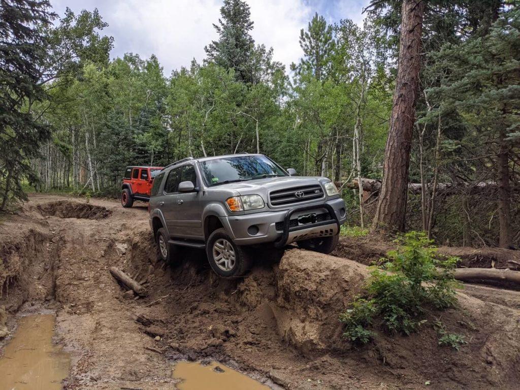 High-centered Toyota Sequoia in Gordon Gulch